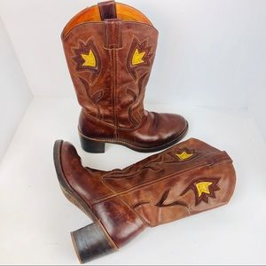 Vintage Frye western boots size 10 brown leather